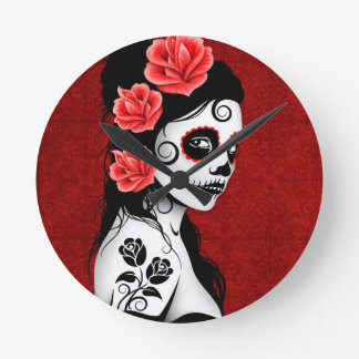 Day of the Dead Sugar Skull Girl - red Round Clock