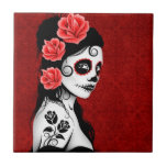 Day of the Dead Sugar Skull Girl - red Tiles