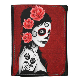 Day of the Dead Sugar Skull Girl - Red Wallets