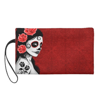 Day of the Dead Sugar Skull Girl - red Wristlet