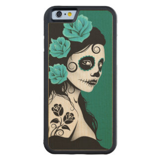 Day of the Dead Sugar Skull Girl – Teal Blue Carved® Maple iPhone 6 Bumper Case