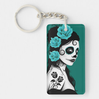 Day of the Dead Sugar Skull Girl - Teal Blue Keychain