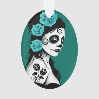 Day of the Dead Sugar Skull Girl - Teal Blue Ornament