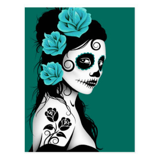 Day of the Dead Sugar Skull Girl - Teal Blue Postcard