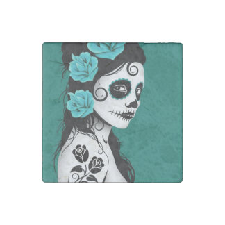 Day of the Dead Sugar Skull Girl Teal Stone Magnet
