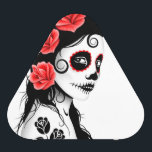 """Day of the Dead Sugar Skull Girl – White Bluetooth Speaker<br><div class=""""desc"""">This Day of the Dead inspired design features a beautiful woman with sugar skull patterns on her face. Three roses appear in her jet black hair with two more roses tattooed on her arm. The girl is standing sideways with her head turned slightly towards the viewer. Her pure white skin...</div>"""