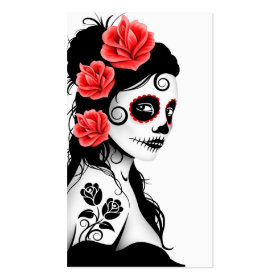 Day of the Dead Sugar Skull Girl - white Double-Sided Standard Business Cards (Pack Of 100)