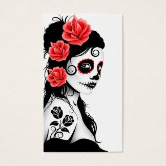 Day of the Dead Sugar Skull Girl - white Business Card