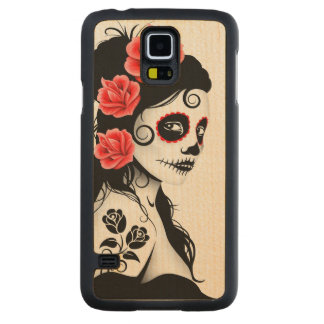 Day of the Dead Sugar Skull Girl – White Carved Maple Galaxy S5 Slim Case