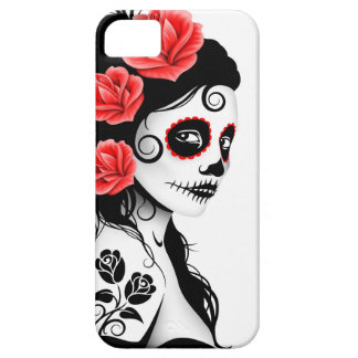 Day of the Dead Sugar Skull Girl - white iPhone 5 Case
