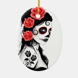 Day of the Dead Sugar Skull Girl - white Ceramic Ornament