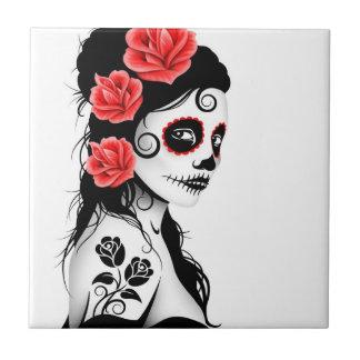 Day of the Dead Sugar Skull Girl - white Ceramic Tile