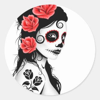Day of the Dead Sugar Skull Girl - white Classic Round Sticker