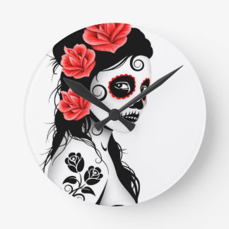 Day of the Dead Sugar Skull Girl - white Round Clocks