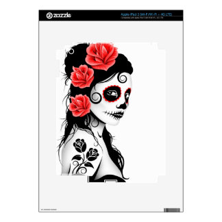 Day of the Dead Sugar Skull Girl - white Decal For iPad 3