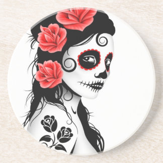 Day of the Dead Sugar Skull Girl - white Drink Coaster