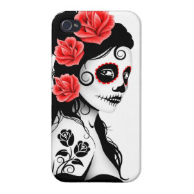 Day of the Dead Sugar Skull Girl - white iPhone 4 Cases