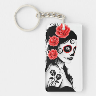 Day of the Dead Sugar Skull Girl - white Double-Sided Rectangular Acrylic Keychain