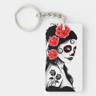 Day of the Dead Sugar Skull Girl - white Rectangular Acrylic Key Chains