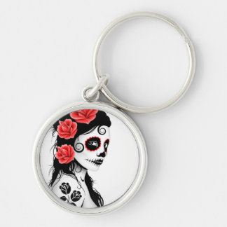 Day of the Dead Sugar Skull Girl - white Keychain