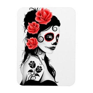 Day of the Dead Sugar Skull Girl - white Magnet