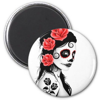 Day of the Dead Sugar Skull Girl - white Refrigerator Magnet
