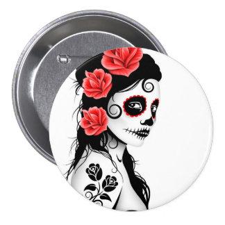 Day of the Dead Sugar Skull Girl - white Pinback Button