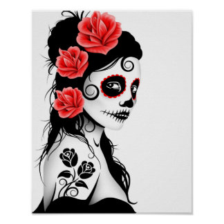 Day of the Dead Sugar Skull Girl - white Poster