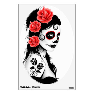 Day of the Dead Sugar Skull Girl - white Wall Sticker