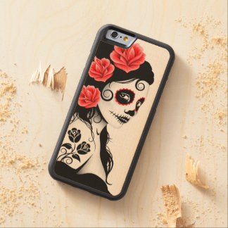 Day of the Dead Sugar Skull Girl – White Carved® Maple iPhone 6 Bumper