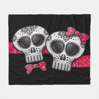 Day of the Dead Sugar Skull Girly Hot Pink Glitter Fleece Blanket