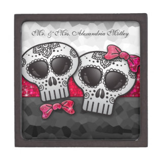 Day of the Dead Sugar Skull Girly Hot Pink Glitter Jewelry Box