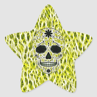 Day of the Dead Sugar Skull - Gold, Black & Green Star Sticker