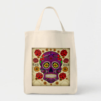Day of the Dead Sugar Skull Grocery Tote