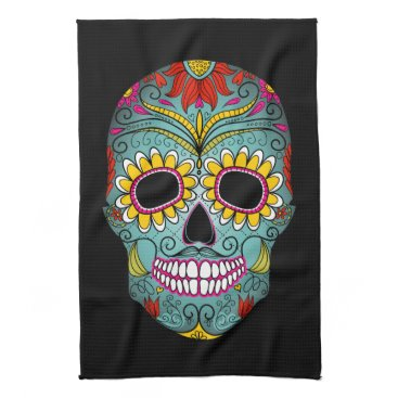 GinaGCreations Day of the Dead Sugar Skull Hand Towel