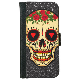 Day of the Dead Sugar Skull Hearts and Flowers Wallet Phone Case For iPhone 6/6s