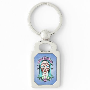 Halloween Themed Day Of The Dead Sugar Skull Keychain