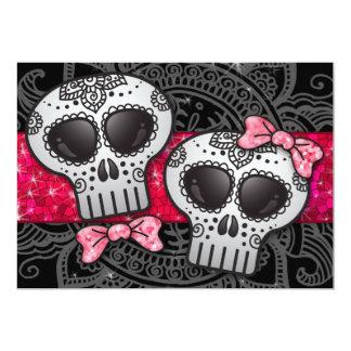 Day of the Dead Sugar Skull LGBT Wedding Glitter 5x7 Paper Invitation Card