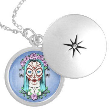 Halloween Themed Day Of The Dead Sugar Skull Locket Necklace