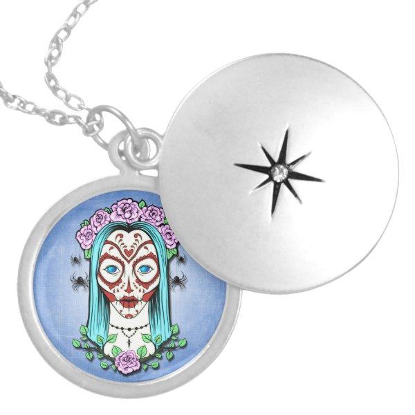 Day Of The Dead Sugar Skull Locket Necklace