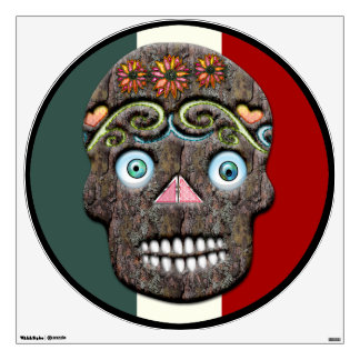 Day of the Dead Sugar Skull (Mossy Bark) Wall Decal