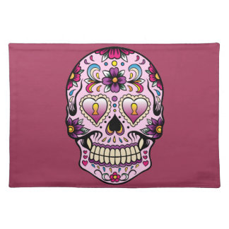 Day of the Dead Sugar Skull Pink Cloth Placemat