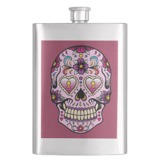 Day of the Dead Sugar Skull Pink Hip Flask