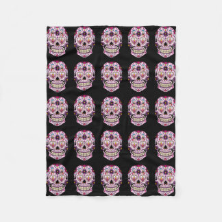 Day of the Dead Sugar Skull Pink Fleece Blanket