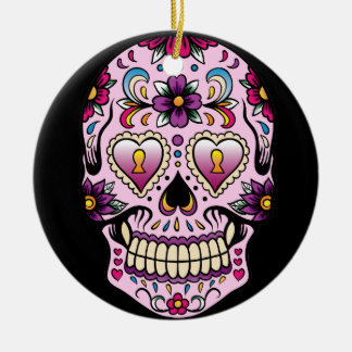Day of the Dead Sugar Skull Pink Ornament Round