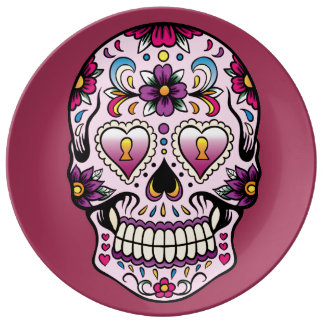 Day of the Dead Sugar Skull Pink Porcelain Plate