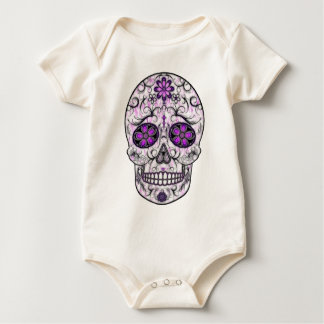Day of the Dead Sugar Skull - Pink & Purple 1.0 Baby Bodysuit