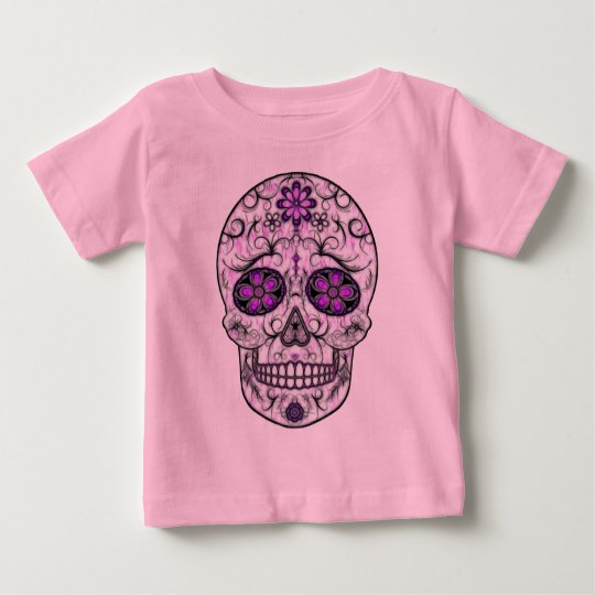 Day of the Dead Sugar Skull - Pink & Purple 1.0 Baby T-Shirt