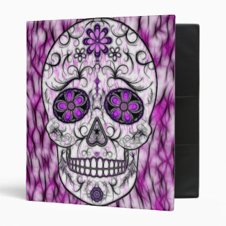 Day of the Dead Sugar Skull - Pink & Purple 1.0 3 Ring Binders