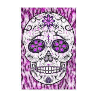 Day of the Dead Sugar Skull - Pink & Purple 1.0 Canvas Print